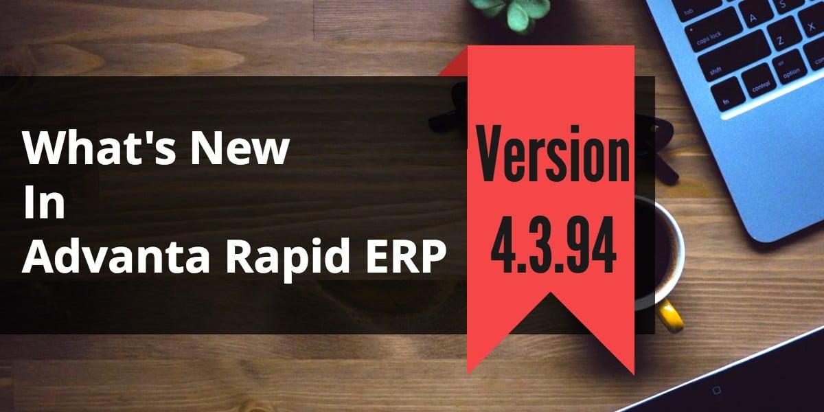 School Accounting Software Advanta Rapid ERP Update 4.3.94